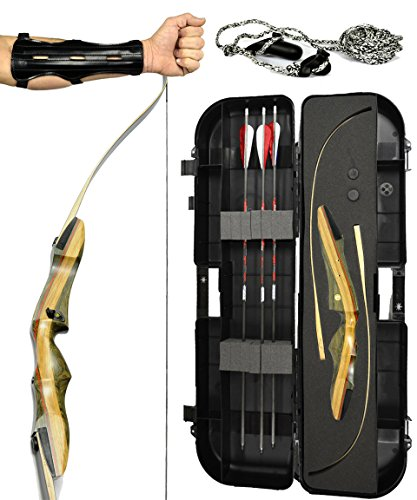 Spyder Takedown Recurve Bow - Ready 2 Shoot Archery Set  INCLUDES Bow Instructions Premium Carbon Arrows Recurve Bow Case Stringer Tool Armguard FREE GIFT  60 lb RH -Red