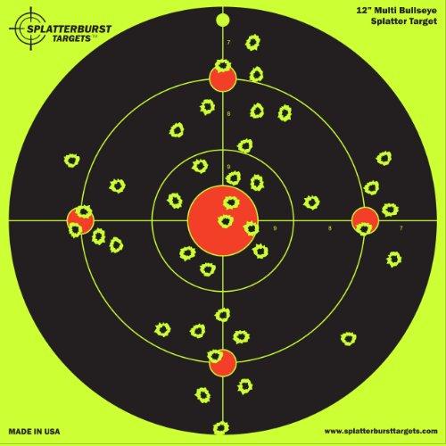 10 Pack - 12 inch Multi Bullseye - Splatterburst Shooting Targets - Gun - Rifle - Pistol - AirSoft - BB Gun - Pellet Gun - Air Rifle