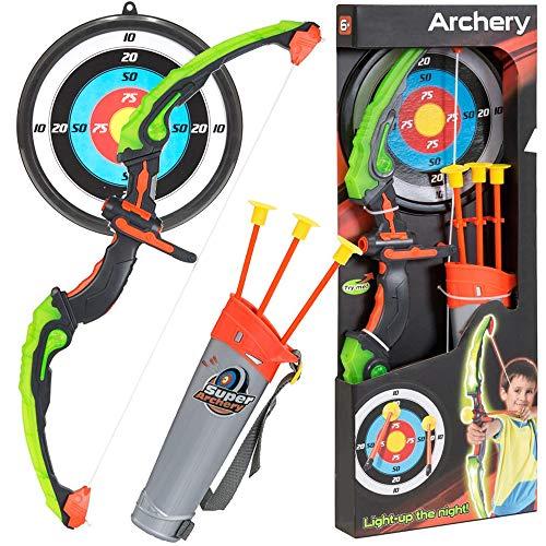 KiiToys Bow Arrow Toy Set for Kids Archery Bow 32 Long Suction Arrow 22 Pretend Play Soft Power Safe Children Game Set