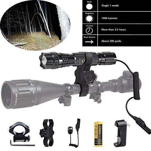 Ulako L2 LED 1000LM Single 1 Mode Coyote Hog Pig Varmint Predator Hunting Flashlight Torch for Picatinny Weaver Rail AR15 Rifle Shotgun