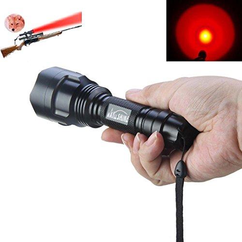 WAYLLSHINE C8 One Mode 300 Lumen Red Light 18650 Battery Waterproof 150 Yard Long Range Red Light Flashlight Red Hunting Light Tactical Flashlight Red Light Torch For Fishing Hunting Detector