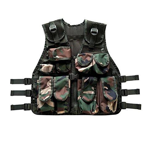 BESTHUNTINER Kids Army Camo Combat Vest Black&US Woodland camo Vest Durable Breathable Tactical Vest 9pockets Fits Ages 5-13 Yrs