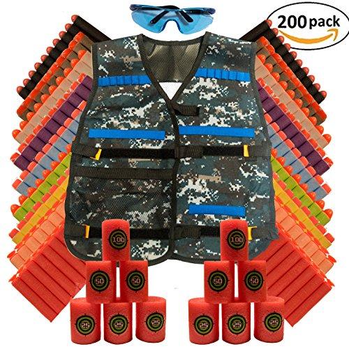 Tactical Blue Camo Vest Kit for Nerf Guns N-Strike Elite Series Includes Vest 12 Foam Targets Safety Glasses and 200 Extra Bullets