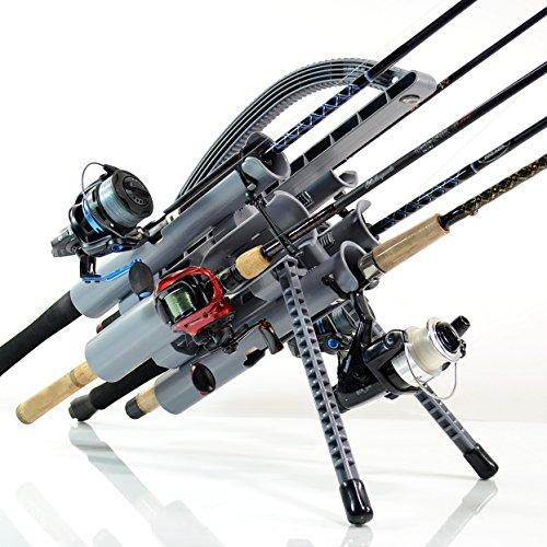 Rod-Runner Pro Fishing Rod Rack - Gray  Portable Fishing Rod Holder Caddy
