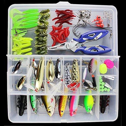 OriGlam 【Happy Shopping Day】 101PCS Fishing Lure Set Fishing Tackle LotsPortable Fun Fishing Baits Kit Set for Saltwater and Freshwater