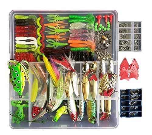 victoronlionshop 270Pcs 1 Set Fishing Tackle Lots Fishing Baits Kit Set with Free Tackle Box for Freshwater Trout Bass Salmon