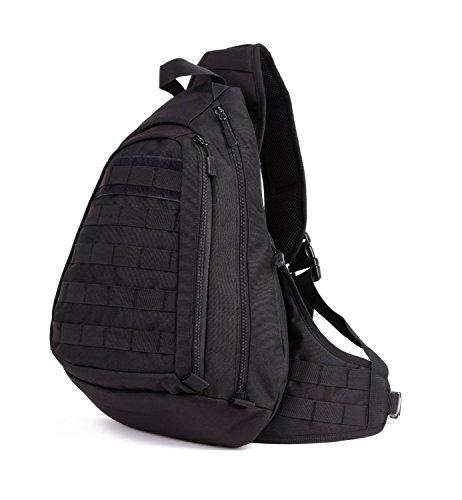 X-Freedom Mens Tactical Chest Daypack Sling Outdoor Single Shoulder Crossbody Bag Black