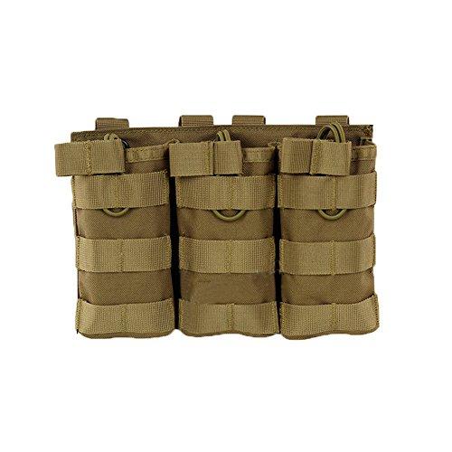 AegisTac Tactical Magazine Pouch Triple M4M16 MOLLE Open-Top Mag Pouch Tan