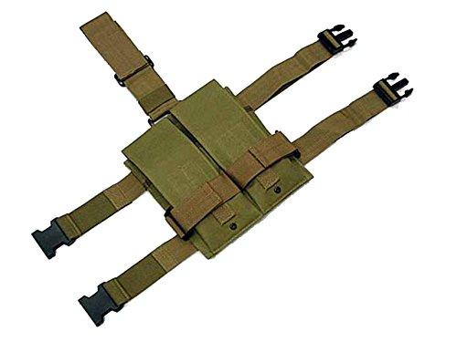 Tactical Double Magazine Pouch Holder Dropleg AEG Drop Leg Airsoft Military Tan