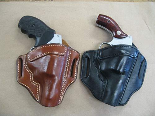 Azula Leather 2 Slot Molded Pancake Belt Holster for Charter Arms Bulldog 5 Shot 3 Revolver Black RH