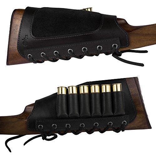 BronzeDog Leather Rifle Stock Ammo Holder Buttstock Shell Holder 12 gauge Hunting Shotgun Shell Pouch Bag 6 cartridges 12 or 16 cal Buttstock Shotgun Shell Holder Left Handed 6 cart Black left