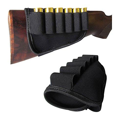 GVN 6 Rounds Buttstock Shell Bullet Bandolier Holder Shotgun Stock Ammo Pouch Carrier for 12G 12 Gauge20G 20 Gauge Outdoor Hunting