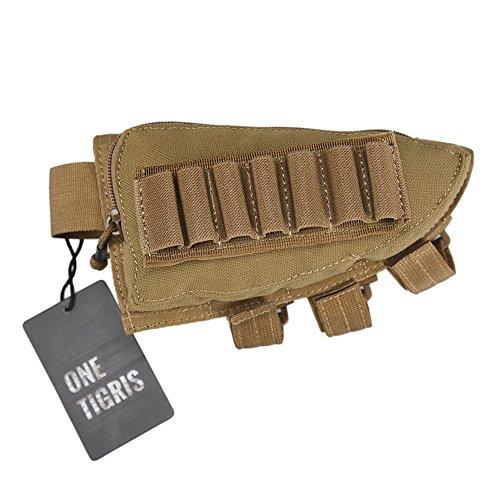 OneTigris Tactical Buttstock Shotgun Rifle Shell Holder Cheek Rest Pouch Tan