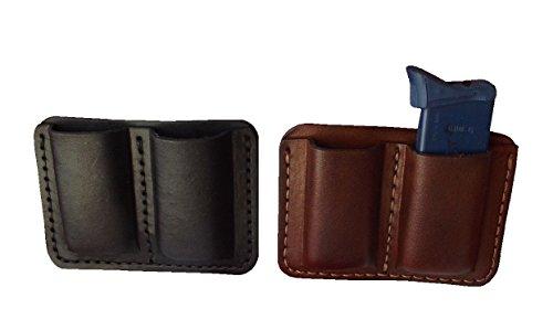 J&J Custom Premium Leather 45 45Cal Double Stack Double Magazine Carrier Holder Holster WBelt Clip