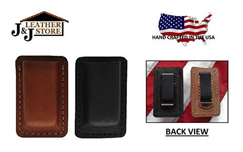 J&J Custom Premium Leather 9mm Double Stack Single Magazine Carrier Holder Holster WBelt Clip