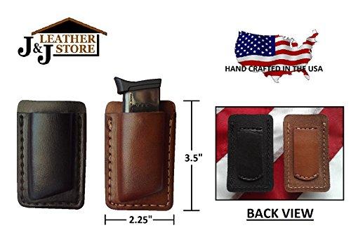 J&J Custom Premium Leather 9mm Single Stack Single Magazine Carrier Holder Holster WBelt Clip