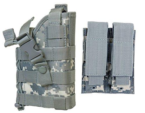 M1SURPLUS ACU Digital Camo MOLLE Compatible Holster With FREE 2 Pocket Magazine Pouch  The Holster Fits SIG P226 P229 P250 P270 SP2022 P320 Smith Wesson M&P M20 CZ-P10 Hudson H9 Handgun Pistols