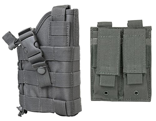 M1SURPLUS WOLF GREY Color Tactical MOLLE Holster With FREE 2 Pocket Magazine Pouch  The Holster Fits Browning Hi-Power Springfield XD XDM Taurus 247 OSS Ruger American SR9 SR40 Full Size Pistols
