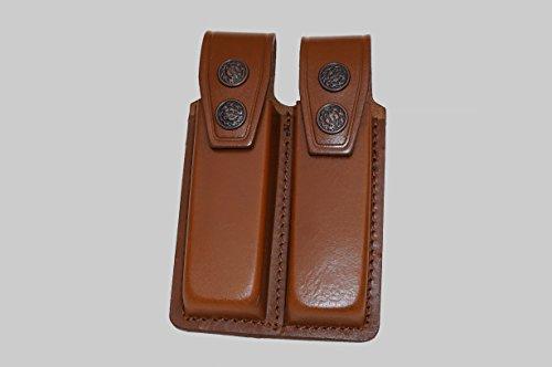 ALIS006 Leather Double Magazine Pouchcarriercase for Beretta Taurus CZ 75 Handmade Brown