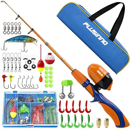 PLUSINNO Kids Fishing PolePortable Telescopic Fishing Rod and Reel Full Kits Spincast Youth Fishing Pole Fishing Gear for Kids Boys