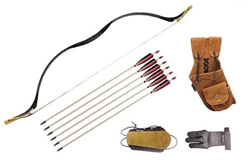 ArcheryMax Handmade Archery Set Mongolian Style Longbow Black Cow Leather Traditional Recurve Bow 35LBS