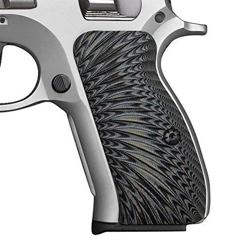 CZ 75 Compact G10 Grips Sunburst Texture Cool Hand Brand GreyBlack