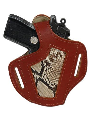 New Barsony Burgundy Python Snake Skin Inlay Leather Pancake Gun Holster for Baby Browning left