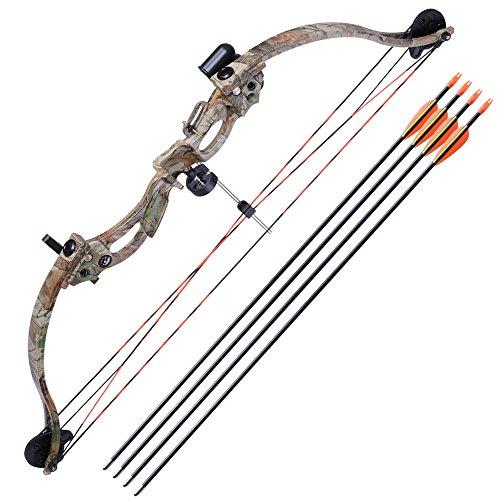 AW 34 Junior Compound Bow Kit w 4pcs 28 Arrow Set Youth Archery Draw Weight 20lbs Hobby