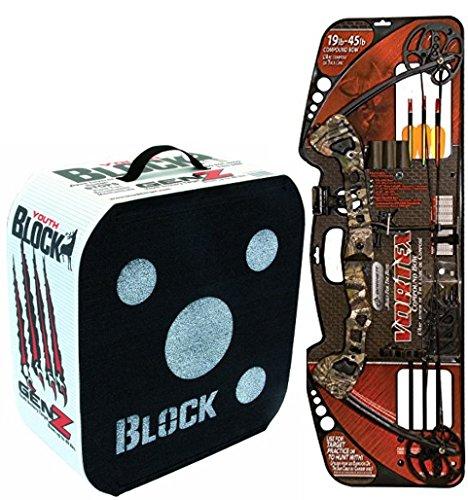Bundle Includes 2 Items - Barnett Vortex 45-Pounds Youth Archery Bow Camo and Block GenZ Youth Archery Arrow Target