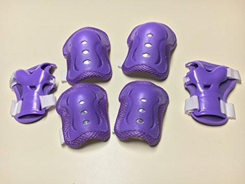 Fantasycarts Kids Roller Blading Wrist Elbow Knee Pads Blades Guard 6 PCS Set in Purple Purple