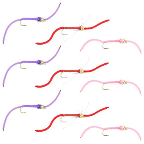 The Fly Fishing Place Worminator Trout Fly Assortment - Improved San Juan Worm Power Bead Set of 9 Wet Nymph Fly Fishing Flies - Hook Size 10 - 3 Each of 3 Patterns