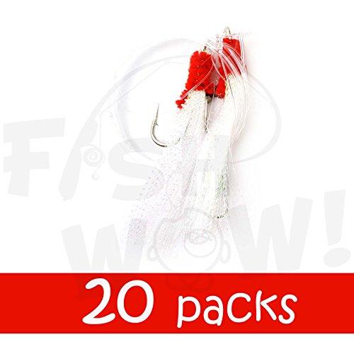 20 packs Fish WOW Fishing Shrimp Fly Rig - White