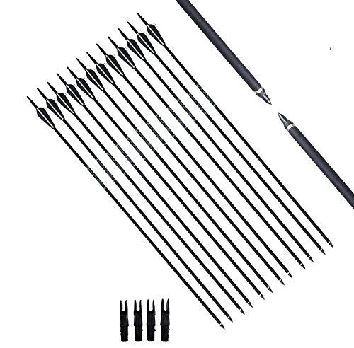 FlyArchery 12PK Archery Carbon Arrows 3076cm Spine 500 Targeting Hunting Arrows Screw Field Point