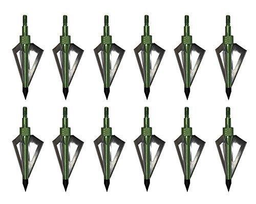 Huntingdoor 12 Pack Green 3 Razor Sharp Fixed Blade Arrow Head 100 Grain Archery Broadheads Hunting Arrow Tips For Archery Arrows