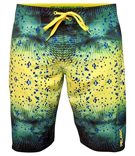 Pelagic Mens Sharkskin Boardshort for Fishing  Psycho Dorado Fish Print