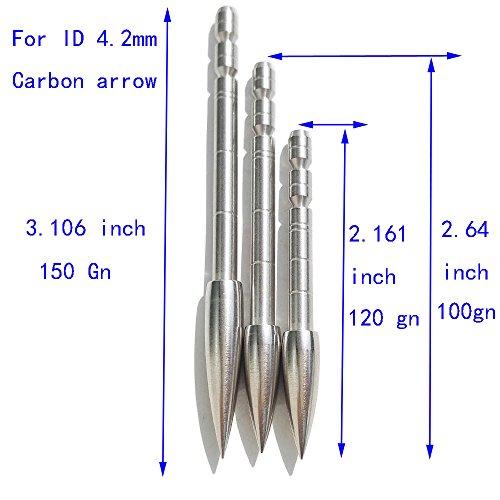 SHARROW Archery Arrow Points 42mm Targeting Arrow Tips Insert Stainless Steel Arrow Points 150gn 120Gn 100Gn Bullet Points 1 Dozen