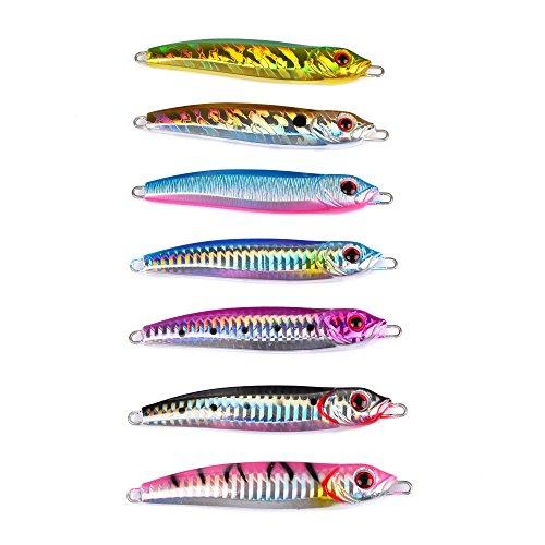 High Quality New 7pcs Lot Jigging Baits 100G Lead Fish Jig Fishing Lures 7 Colors Metal Sea Bait Ocean Fishing Lure