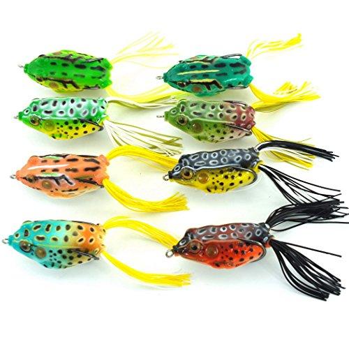 Aorace 8pcs Lifelike Topwater Frog Fishing Lure Crankbait Hooks Bass Soft Lure Bait Tackle 24-6cm047oz-134g