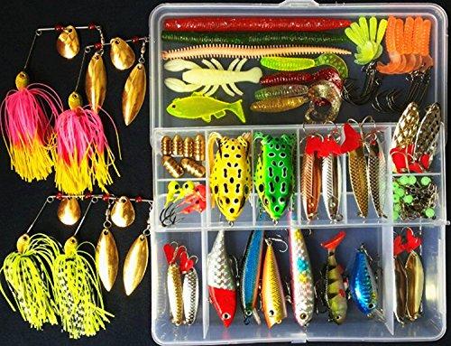 Fishing Lures Kits Tackle SetPortableFun Freshwater Bass BaitTopwater Frog LuresIncluding CrankbaitsSpinnerbaitsSpoon LuresTackle Box etc