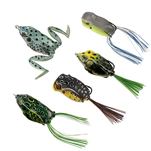 RUNCL Topwater Frog Lures Soft Fishing Lure Kit with Tackle Box for Bass Pike Snakehead Dogfish Musky Pack of 5