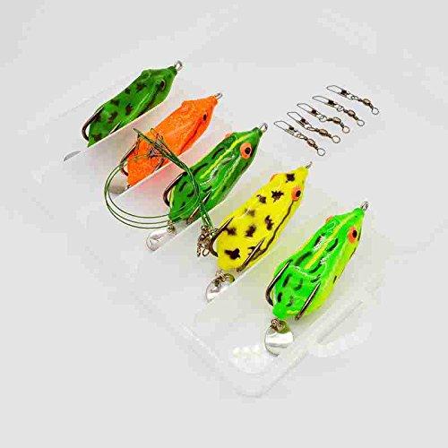 FidgetGear 5pcs Box Mixed Lot Soft Topwater Frog Fishing Lure Bass Bait Tackle 65cm 112g