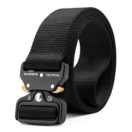 Fairwin Tactical Belt Military Style Webbing Riggers Web Belt Heavy-Duty Quick-Release Metal Buckle