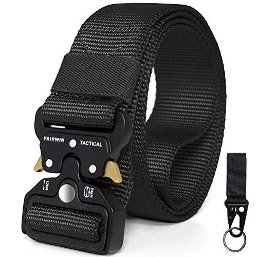 Fairwin Tactical Belt Military Utility Belt Nylon Web Rigger Belt with Heavy-Duty Quick-Release Metal Buckle for Men Women