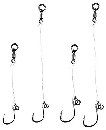 Hestio 4SetPack Hand Made Carp Fishing 20LB Carbon Line Hooks Rigs Set Barbless Hook Size 6
