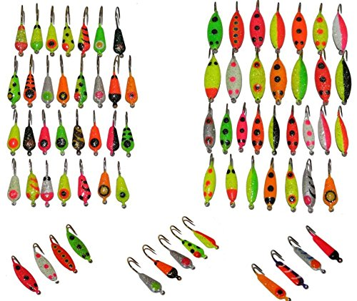 Premium Ice Fishing Lure Kit - Anglers World of Jigs - Ice Fishing Lure Lures Tackle Bait Rod Pole Reel Combo Case Line Gear Pack Hole Sled Shelter Shanty Tool