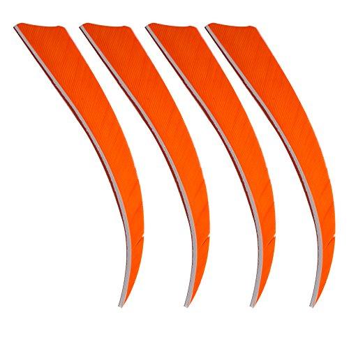 Toparchery 40pcs 5 Shield Shape Natural Feathers Archery Arrow Fletching Right Wing orange
