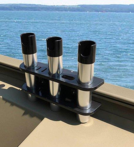 Brocraft Rod Holder for Tracker Boat - Versatrack System -3 Rods Storage -----Black
