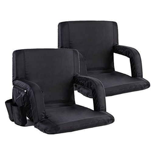 Portable Stadium Seat Chair Sportneer Reclining Seat for Bleachers with Padded Cushion Shoulder Straps Black 2 Pack