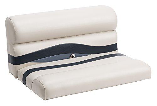 Wise Premier Series Pontoon 36-Inch Bench Seat Cushions Only Platinum  Platinum Punch  Round Midnight Navy  Cobalt