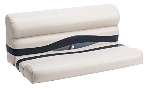 Wise Premier Series Pontoon 50-Inch Bench Seat Cushions Only Platinum  Platinum Punch  Round Midnight Navy  Cobalt